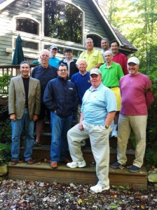 Photo: Men's Retreat attendees (front to back, and left to right): Mike Duley, Frank Vorndran, Andy Briscoe, John Meak. Jim Wilson, Earl Griggs, Farris Nobel, Christian Faust, Phil Rosenberg, Dan Moore, Jose Rivera, and Bill Cormany. (Photo by Brad Duty)